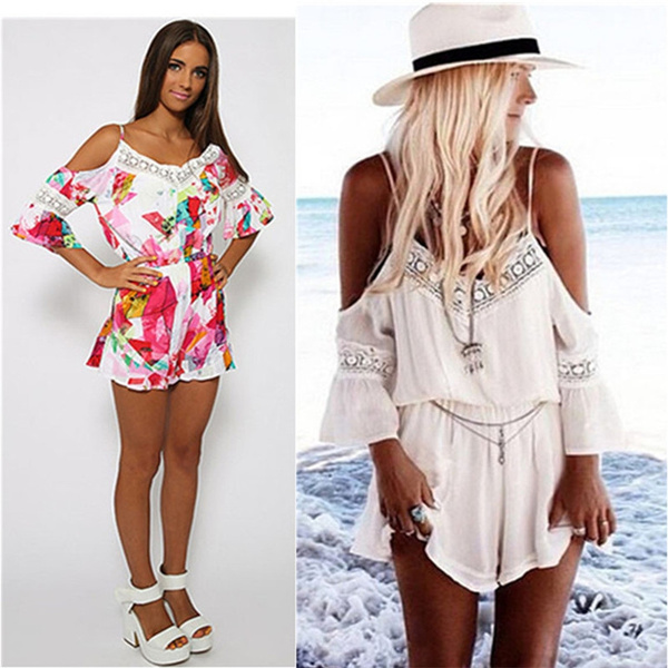 Picture of Autumn Women Sexy V Neck Off Shoulder Jumpsuit Rompers With Sleeve Ladies Spaghetti Strap Playsuit Shorts Clubwear