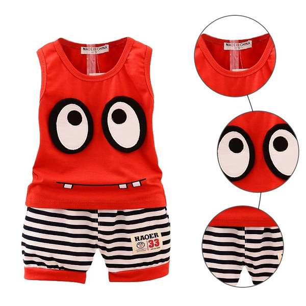 Summer Casual Cotton Cartoon Sleeveless Vest+ Stripe Shorts Children Sport Suit Set Baby  Girls  Clothes Set
