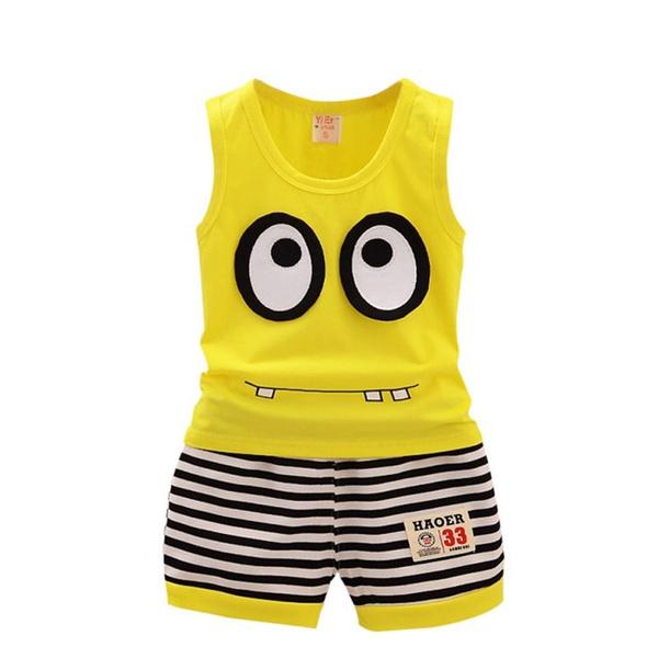 Summer Casual Cotton Cartoon Sleeveless Vest+ Stripe Shorts Children Sport Suit Set Baby  Girls  Clothes Set