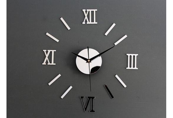 New Trendy 3D DIY Roman Numbers Mirror Living Room Home Interior Deco Wall Clock