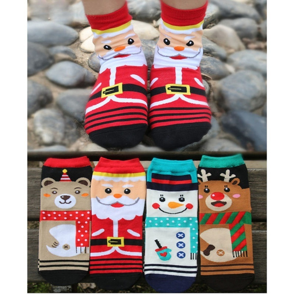 Cute Women Santa Claus Socks Warm Soft Cotton Sock Deer Xmas Gift DYY1835