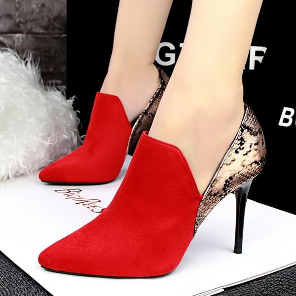 Talons Serpent Femme Patchwork Peau Pointu Pompes Rouge De Bout Mode Chaussures Chaussure Hauts Mujer Femmes Zapatos Gris Noir Mariage 80nOywvmN