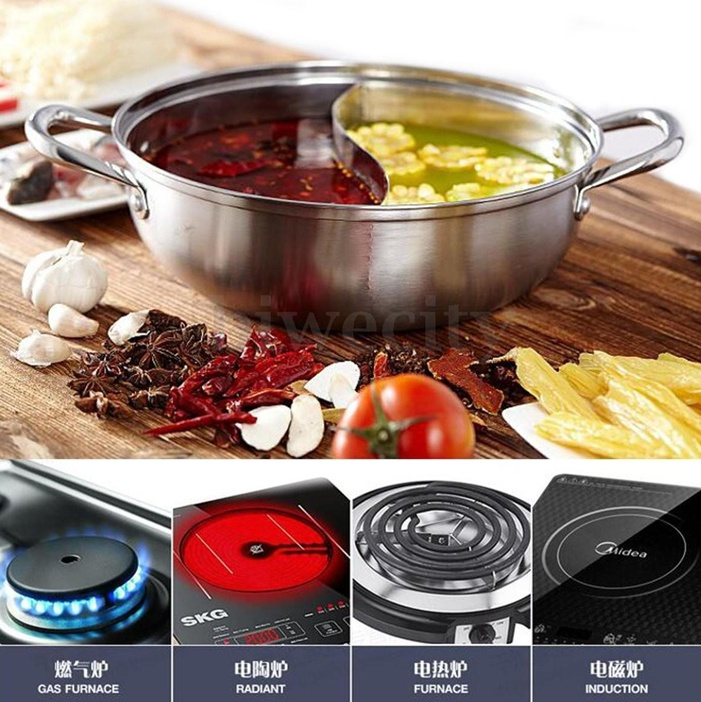 Pot For Induction Cooker ~ Stainless steel twin double hot pot cookware shabu