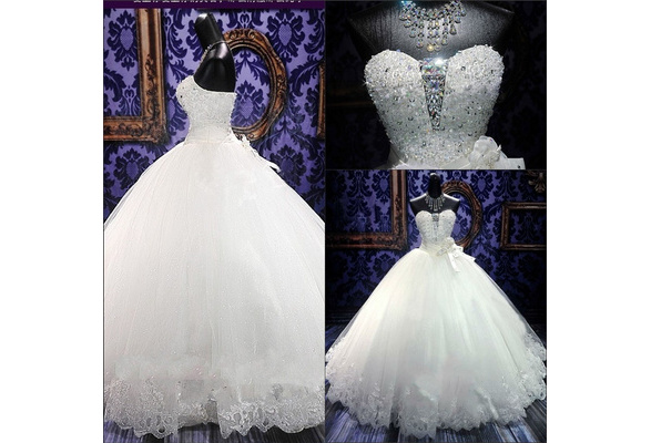 US size Sweetheart Applique Lace up A Line Sweep Train Charming Button Lace Wedding Dress 2016 Wedding Gown slace bridal