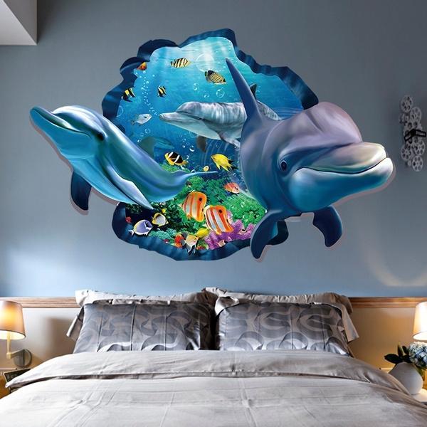 Výsledok vyhľadávania obrázkov pre dopyt New Special Design 3d Effect Underwater World Dolphin Fish Background Wall Sticker