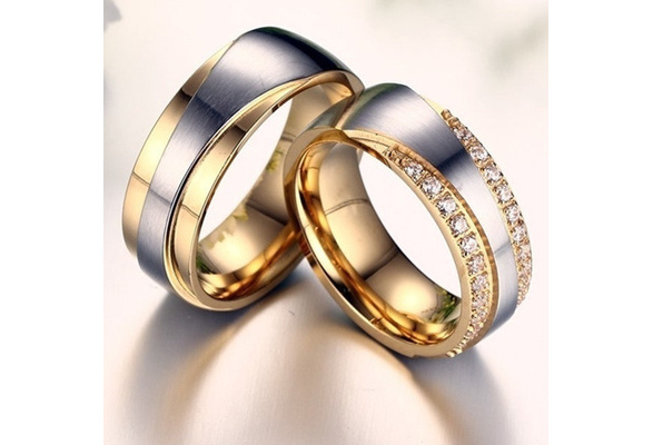 1 Pc Couple Rings New Fashion Wedding Rings Stainless Steel Ring with AAA+ CZ Stone Never Fade Jewelry Accessories