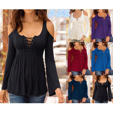 Women Fashion Long Sleeve V-neck Off Shoulder Pure Color Casual Sexy Loose Tops 6 Colors