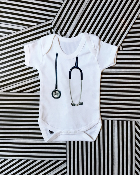 28880c1514a36 Wish | Newborn Baby Rompers Stethoscope Printed Boys Ang Girs Baby ...