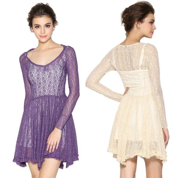 Hot Sale Women Spring Dress Long Sleeve Slim Dresses Female Fashion Lace Splice Sexy Short Dress