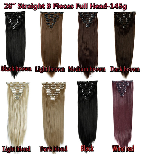 Wish 2461cm 2666cm Real Thick 8 Piece Full Head Long Curly