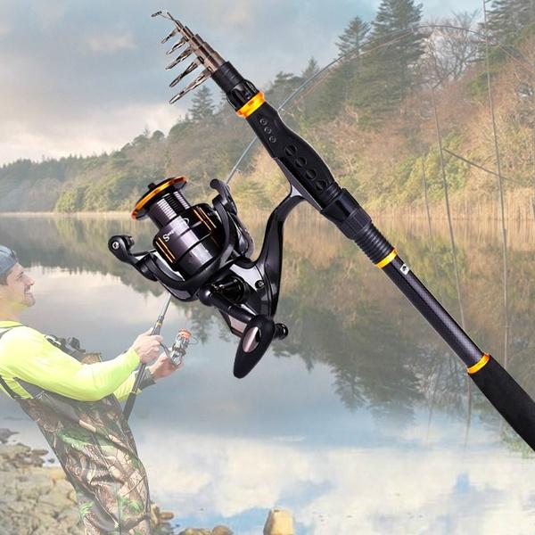 Sougayilang Fishing Rod Reel Combos Carbon Telescopic Fishing Rod Pole with  Spinning Reel Combo Sea Saltwater Freshwater Fishing Rod Kit