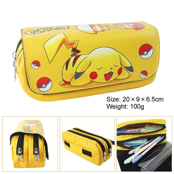 Picture of 1pc Pokemon Anime Pattern Pen Bag Cosmetic Coin Double Zipper Color Drawing Pencil
