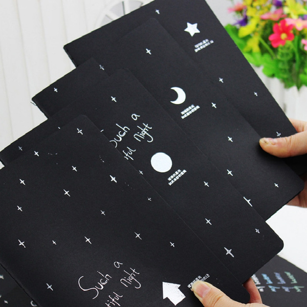 wish | Notebook Diary Black Paper Notepad 16K 32K 56K Sketch Graffiti Notebook for Drawing Painting Office School Stationery Gifts.
