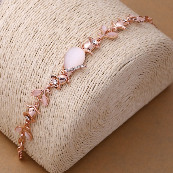 Picture of Attractive 18k Rose Gold Diamond Crystal Leaf Opal Wedding Bracelet Party Jewelry