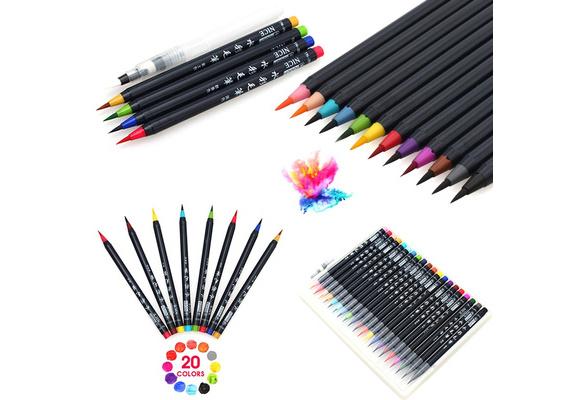20 Colors/Set Manga Brush Pens Set Soft Flexible Tip Create Watercolor Copic Markers for Manga Comic Calligraphy Watercolor Brush