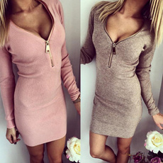 Autumn In Europe  with Tight Hip Threads Open To Keep Warm Dresses