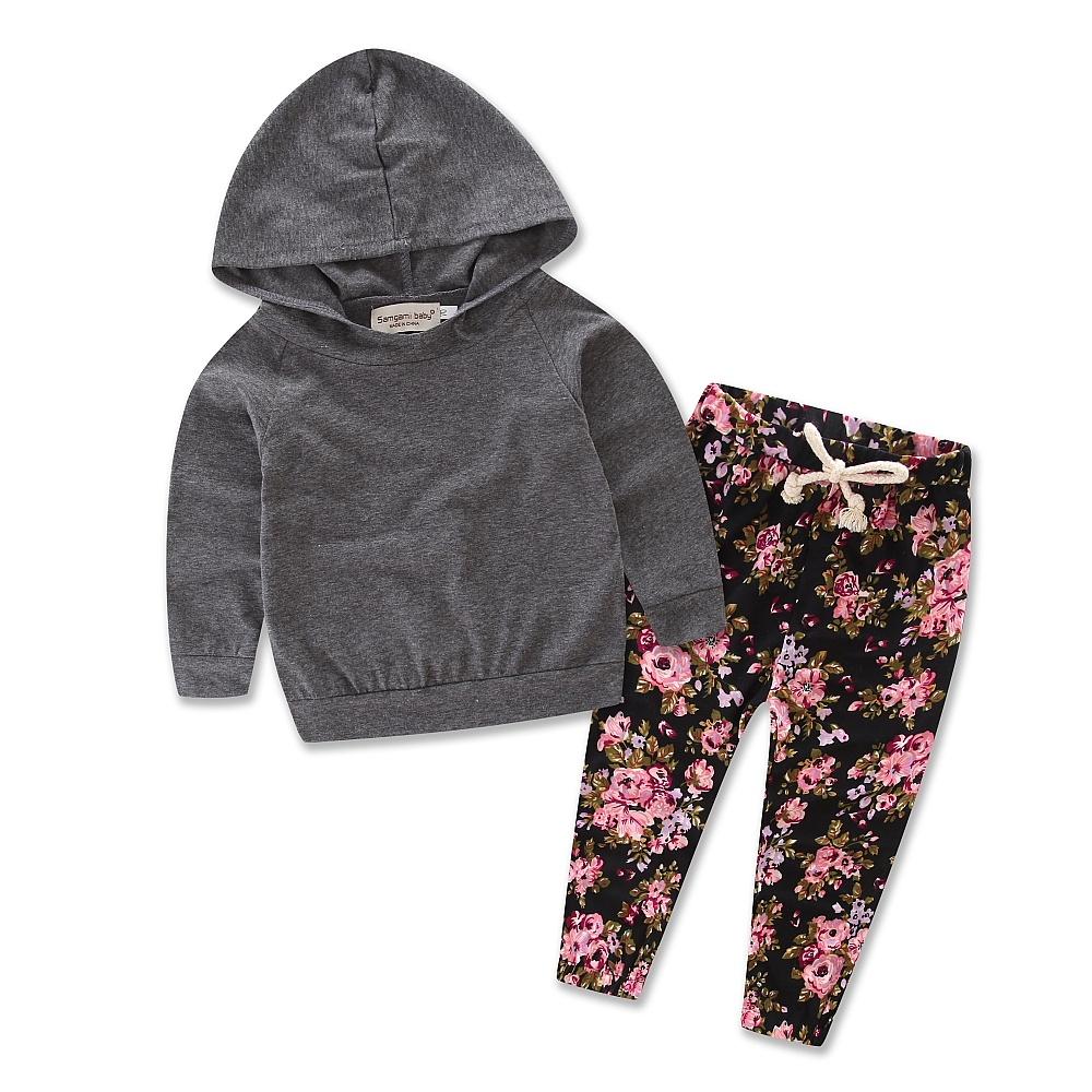 b7f7d987fb1f 2pcs Newborn Infant Baby Girls Clothes Hooded Coat Tops+Floral Pants ...