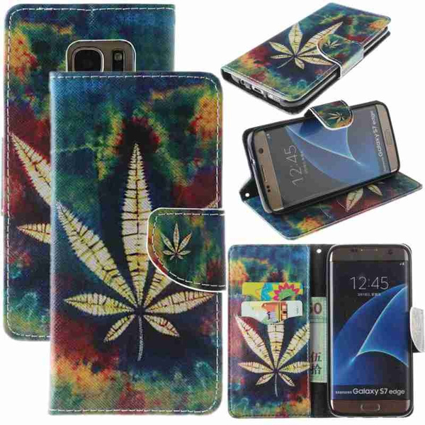Picture of Flip Cover Holster Oils Painting Maple Leaf Painted Pattern Pu Leather Wallet Card Slots Holder Drop Resistance Protection Mobile Phone Bag Case For Iphone 6 6s 6plus 6s Plus /Samsung Galaxy S5 S6 Edge S7 S7 Edge /Huawei Ascend P8 Lite P9 Lite