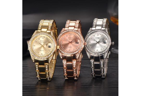66abb01c3043 New Fashion XINEW Ladies Women Girl Unisex Stainless Steel Date Quartz  Wrist Watch Christmas Gift