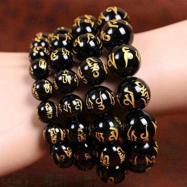 Good Quality Mantras Beads Bracelets Black Agate Tibetan Amulet Bracelets  Njl8
