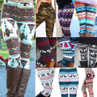 Womens Xmas Snowflake Reindeer Knitted Tights Casual Pants Skinny Slim Pencil Pants 11 Styles
