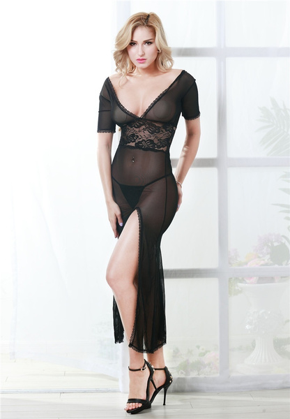 Wish Porn Plus Size Night Gown Lingerie Sexy Lingerie Underwear Lace Mesh Sexy Nightgown Deep V Dress