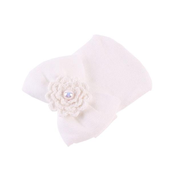 Newborn Baby Infant Toddler Girls Bow Flower Soft Hospital Cap Beanie Cute Hat GAR