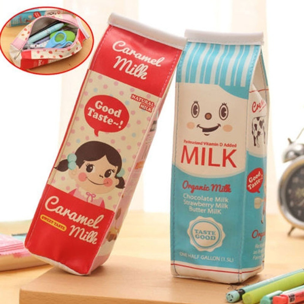 Picture of Kawaii Stationery Pouch Simulation Of Milk Cartons Pencil Case Pu Pen Bag