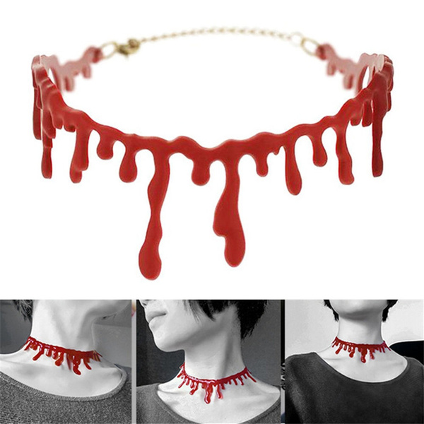 Cutting Bloodstain Necklace Halloween Party Cosplay Decoration for Girls Women
