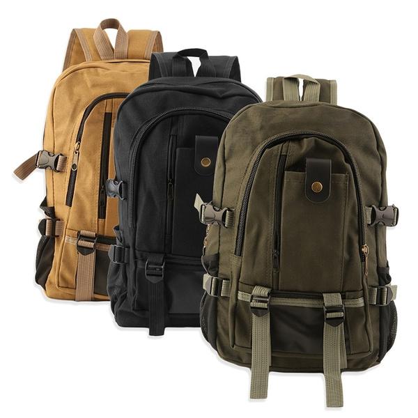 Picture of Backpack Vintage Canvas Rucksack Preppy School Shoulder Travel Satchel