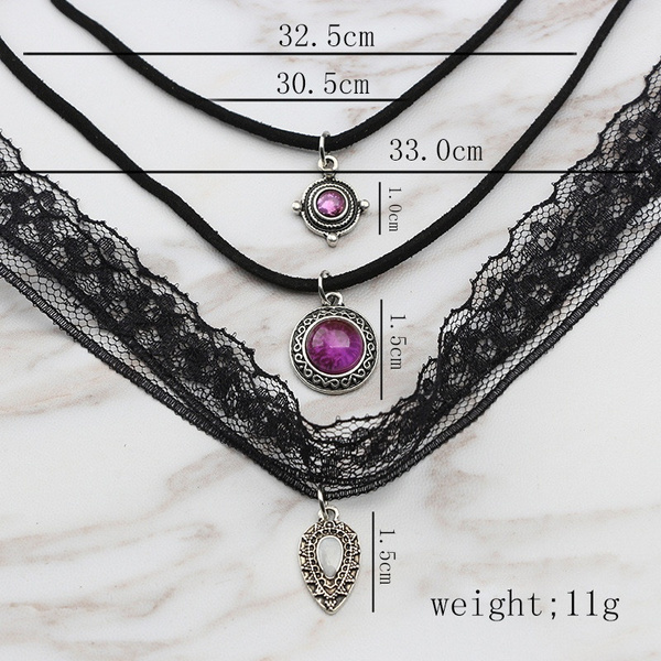 Gothic Black Velvet Choker Necklace Women Vintage Lace Tattoo Choker Multilayer Crystal Necklaces & Pendants Fashion Jewelry (Color: Black)