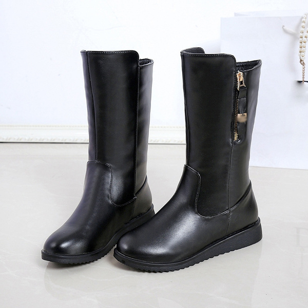 12bbe92c312 Botines Mujer Fashion Women Boots Square Heel Platforms Zapatos Mujer PU  Leather Shin High Boots Motorcycle Shoes Botas Mujer