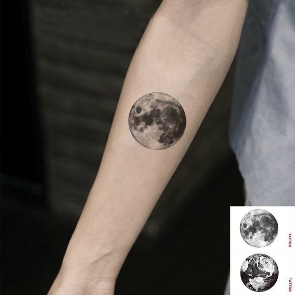 Sexy The Earth And The Moon Arm Tattoo Stickers Temporary Tattoos Waterproof Tatoo Sexy Tattoo Cool Tattoo