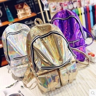 Picture of Girl's Holographic Laser Leather Backpack Travel Casual Satchel