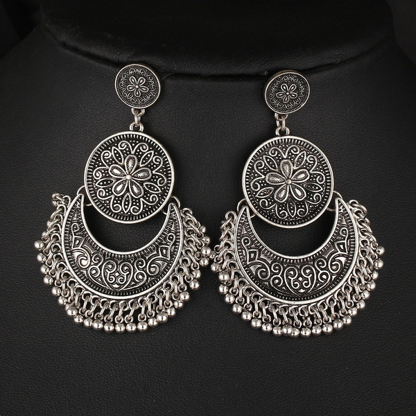 Retro Style Flowers Moon Tassel Goldplated Silver Earring Trendy Vintage Popular Classics Geometric Double Round Alloy Earrings Creative Women Jewelry Gifts