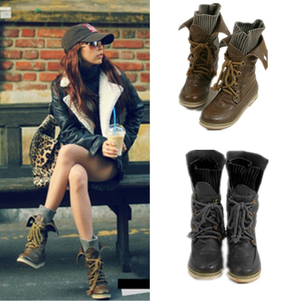 Picture of New Womens Lace Up Motor Biker Boots Military Combat Leather Ankle Boots Ladies Winter Shoes