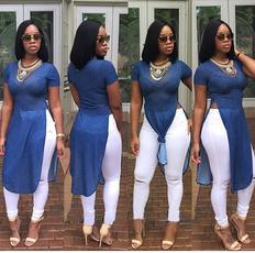 denim dress, blouse, Jeans Dress, short sleeve dress