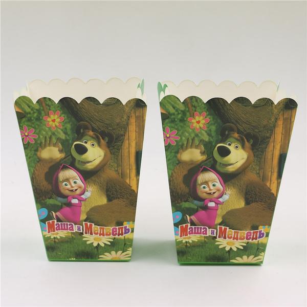 Wish Masha And Bear Theme Party Decoration 6pcslot Popcorn Box