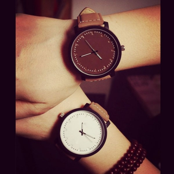 Picture of Vintage Quartz Relojes Leather Band Round Women Men Oversized Face Wrist Watch