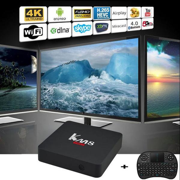[Free Wireless Keyboard + Mouse] Latest KM8 PRO Android 6 0 TV BOX Amlogic  S912 Octa Core 2G/16G Kodi 17 0 WIFI 1000M