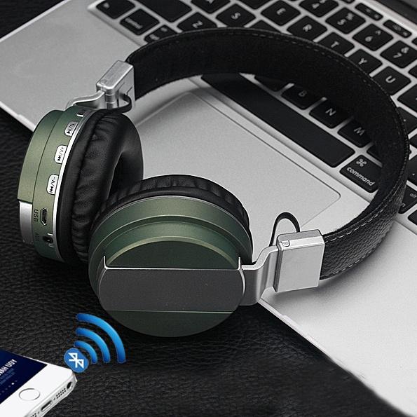 Picture of Original Genuine Leather Bluetooth Headphone Wireless Headset With Microphone Call Stereo Sound Ergonomic Headband Earphone Royal Design Tf/microsd Card Mp3 Player Fm Radio Led Status
