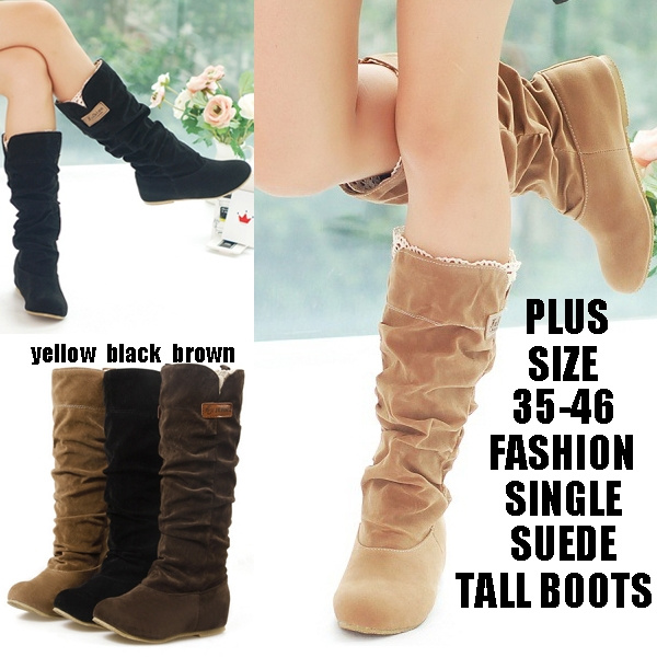 Picture of Women's Slouchy Wide Boots Hollow Hook Lace Cotton Scrubs Ladies Boots Shoes Tall Boots Winter Boots Women's Fashion Plus Size 3-15