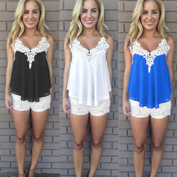 Picture of Plus Size Summer Women Lace Vest Top Sexy Sleeveless Chiffon Blouse Casual Tank Tops T-shirt