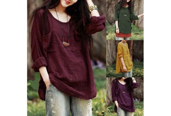 ZANZEA Vintage Women Long Sleeve  Cotton Loose Casual Tops Blouse T-Shirt Plus