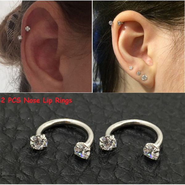 2 Pcs New Hot Piercing Septo Popular Nose Lip Eyebrow Ear Septum