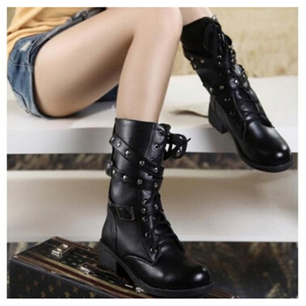 Picture of Fashion Women Motorcycle Boots Ladies Vintage Rivet Combat Army Punk Goth Ankle Shoes Women Biker Leather Spring/autumn/winter Boots