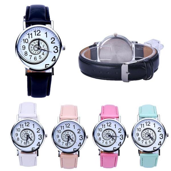 Picture of Women Swirl Pattern Leather Analog Quartz Wrist Watch
