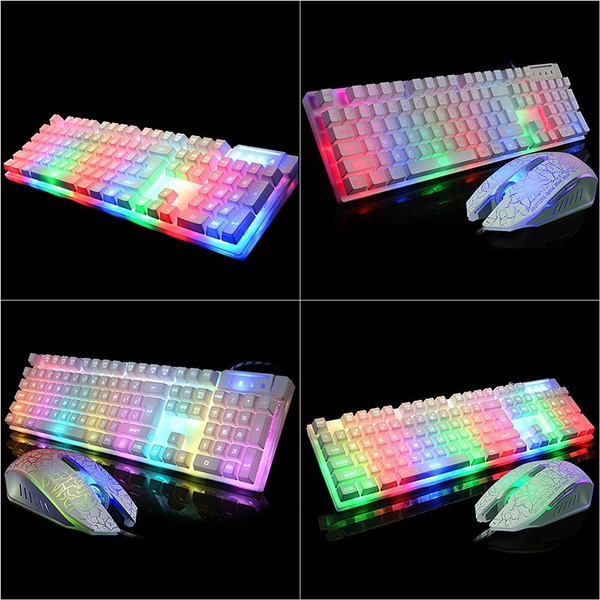 Picture of Mechanical Feel Gaming Keyboard 7 Color Backlit Led Usb Wired Game Keyboard/keyboard Mouse Set White