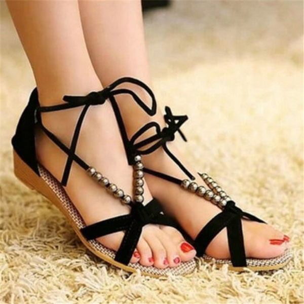Picture of Summer Women Sandals Fashion Shoes Flip Flops Shoes Platform Wedge Beach Sandal String Bead Bands