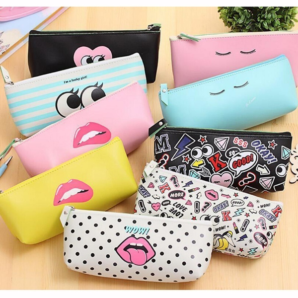 Picture of New Fashion Cute Lovely Pencil Case Pouch Stationary Office Makeup Cosmetic Bag